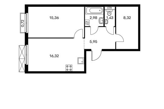 1-комнатная квартира, 50.5 м<sup>2</sup>, 18 этаж