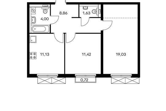 2-комнатная квартира, 56.2 м<sup>2</sup>, 8 этаж