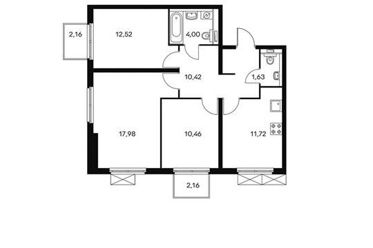 3-комнатная квартира, 70.1 м<sup>2</sup>, 9 этаж