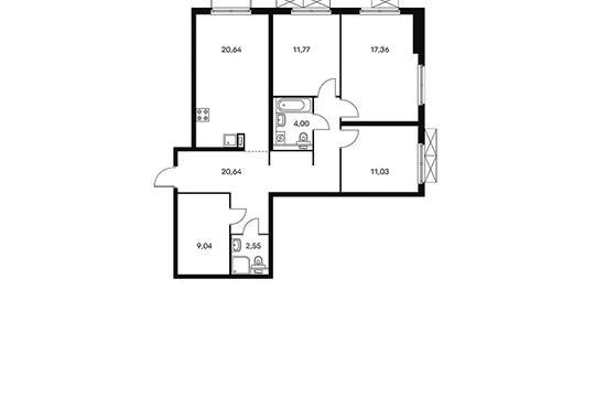 3-комнатная квартира, 97.7 м<sup>2</sup>, 14 этаж