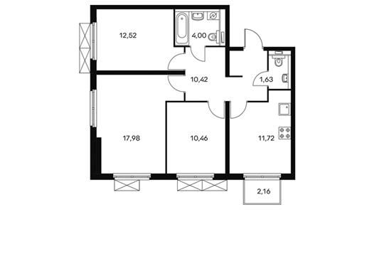 3-комнатная квартира, 69.4 м<sup>2</sup>, 14 этаж