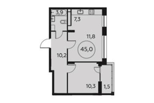 2-комн квартира, 45 м<sup>2</sup>, 11 этаж_1