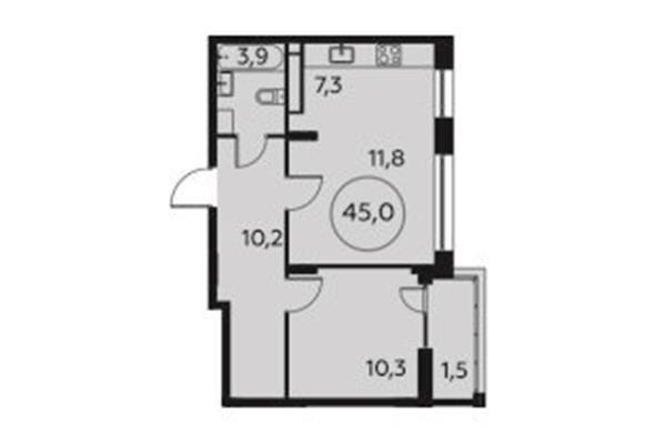 2-комн квартира, 45 м2, 11 этаж - фото 1
