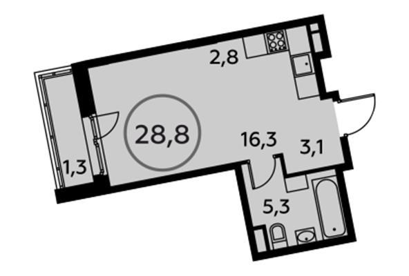 1-комн квартира, 28.8 м2, 10 этаж - фото 1