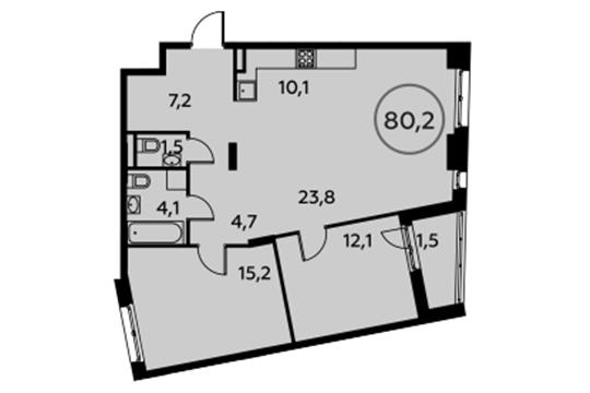 3-комнатная квартира, 80.2 м<sup>2</sup>, 5 этаж_1