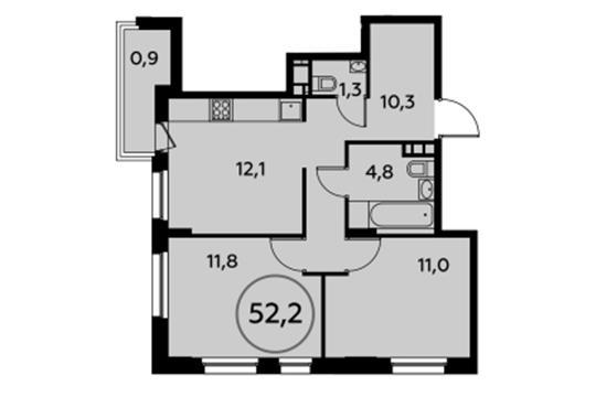 2-комнатная квартира, 52.2 м<sup>2</sup>, 5 этаж_1