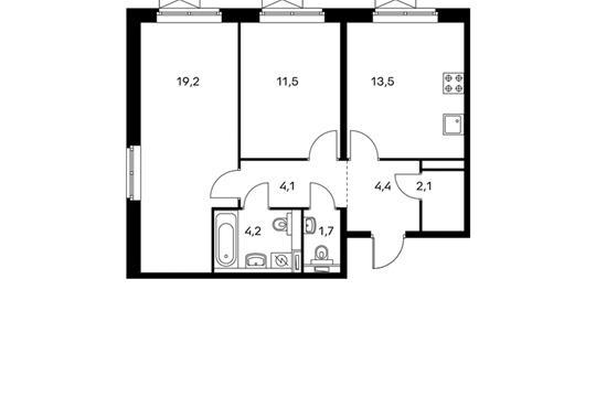 2-комнатная квартира, 60.7 м<sup>2</sup>, 9 этаж