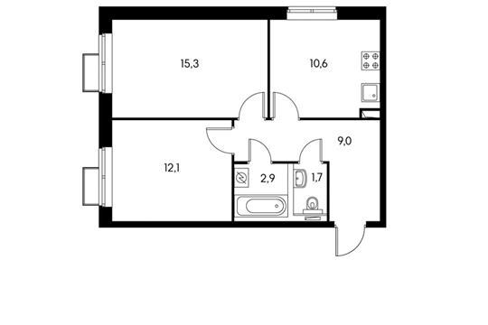 2-комнатная квартира, 51.6 м<sup>2</sup>, 13 этаж