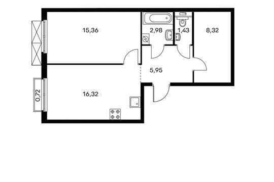 1-комнатная квартира, 50.5 м<sup>2</sup>, 13 этаж