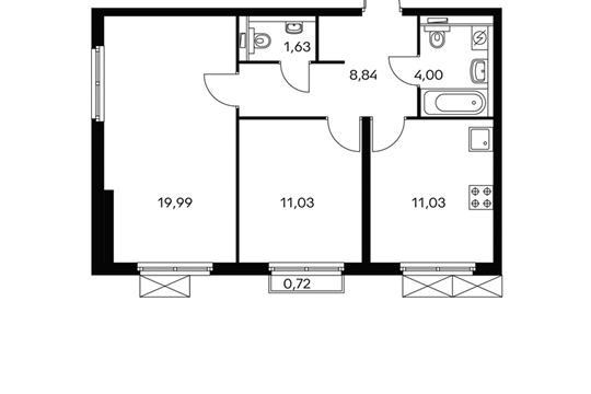 2-комнатная квартира, 56.6 м<sup>2</sup>, 13 этаж