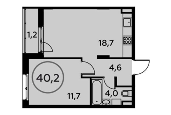 1-комн квартира, 40.2 м2, 5 этаж - фото 1