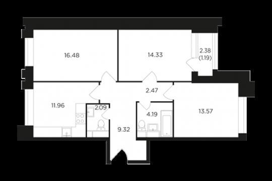 3-комнатная квартира, 75.6 м2, 26 этаж