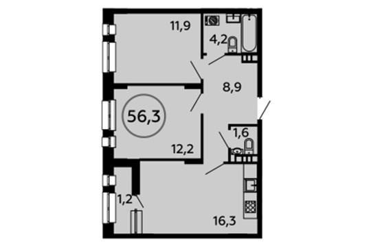 2-комн квартира, 56.3 м<sup>2</sup>, 5 этаж_1