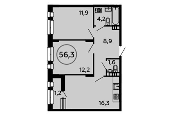 2-комнатная квартира, 56.3 м<sup>2</sup>, 5 этаж_1