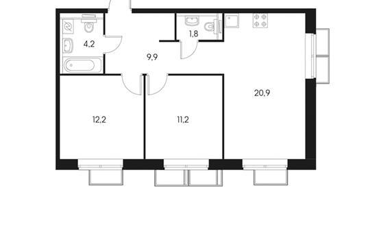 2-комнатная квартира, 60.2 м<sup>2</sup>, 20 этаж