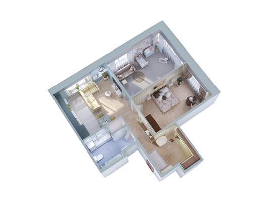 2-комн квартира, 61.7 м2, 14 этаж - фото 1