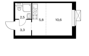 1-комнатная квартира, 21.9 м<sup>2</sup>, 2 этаж_1