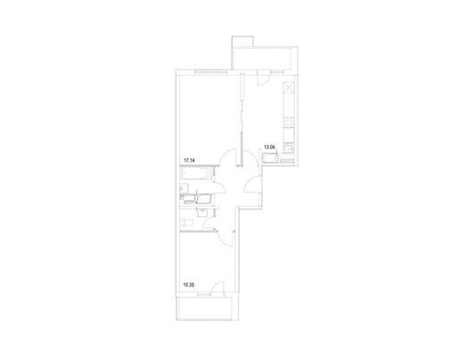 2-комн квартира, 56.29 м2, 8 этаж - фото 1