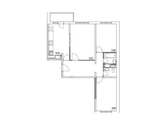 3-комнатная квартира, 74.76 м<sup>2</sup>, 23 этаж_1