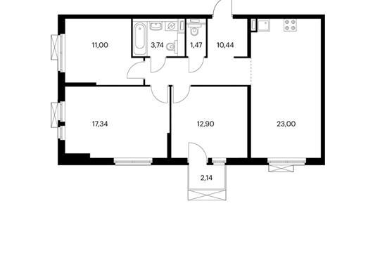 3-комнатная квартира, 80.55 м<sup>2</sup>, 11 этаж