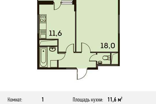 1-комнатная квартира, 39.4 м<sup>2</sup>, 23 этаж