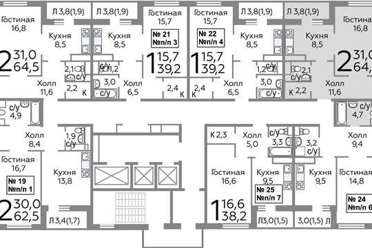 2-комнатная квартира, 64.9 м<sup>2</sup>, 4 этаж