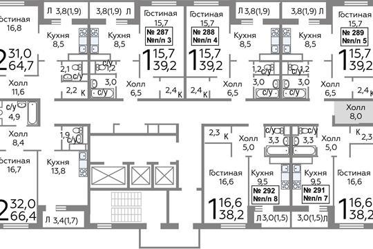 2-комнатная квартира, 44.6 м<sup>2</sup>, 18 этаж