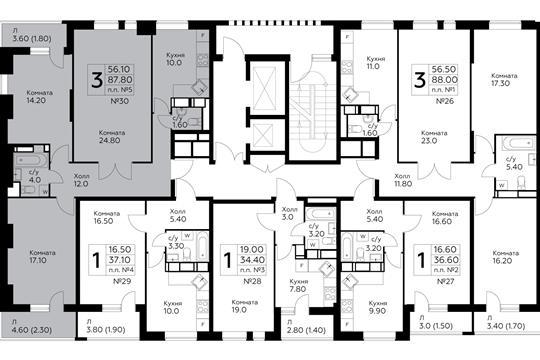 3-комнатная квартира, 87.8 м<sup>2</sup>, 7 этаж
