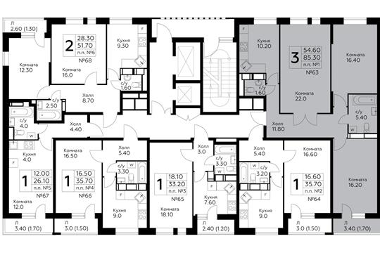 3-комнатная квартира, 85.3 м<sup>2</sup>, 14 этаж