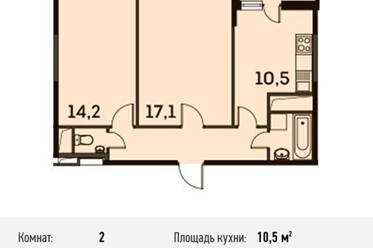 2-комнатная квартира, 53.9 м<sup>2</sup>, 13 этаж