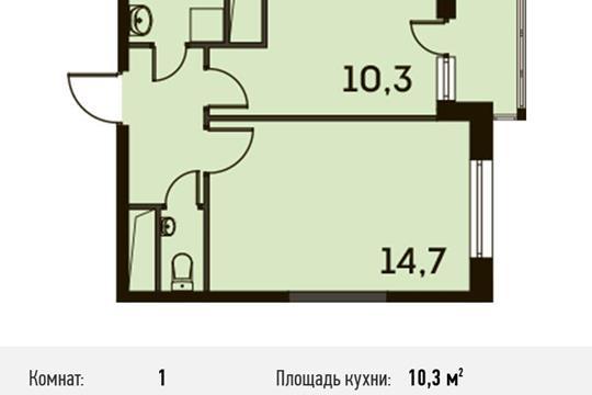 1-комнатная квартира, 34.5 м<sup>2</sup>, 6 этаж