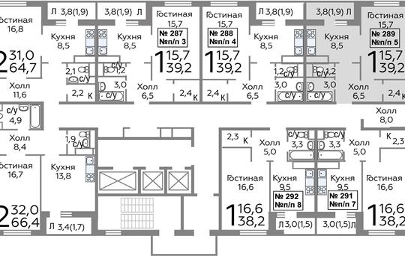1-комнатная квартира, 39.2 м<sup>2</sup>, 18 этаж