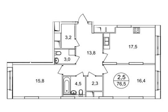 2-комн квартира, 76.5 м2, 15 этаж