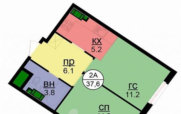 1-комнатная квартира, 37.6 м<sup>2</sup>, 6 этаж