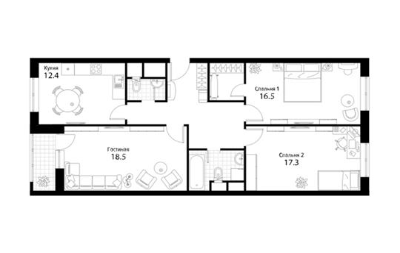 3-комнатная квартира, 89.2 м<sup>2</sup>, 20 этаж