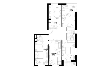4-комнатная квартира, 113.4 м<sup>2</sup>, 2 этаж