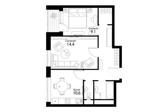 2-комнатная квартира, 53.3 м<sup>2</sup>, 10 этаж