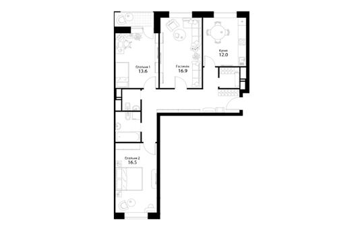 3-комнатная квартира, 86.8 м<sup>2</sup>, 2 этаж