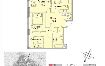 1-комнатная квартира, 85 м<sup>2</sup>, 13 этаж