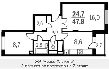 2-комнатная квартира, 47.8 м<sup>2</sup>, 2 этаж
