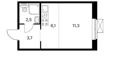 1-комнатная квартира, 23.8 м<sup>2</sup>, 3 этаж_1