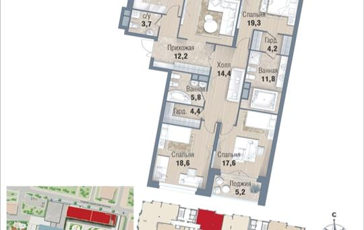4-комнатная квартира, 162.2 м<sup>2</sup>, 5 этаж