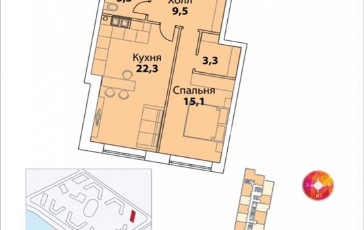 1-комнатная квартира, 56.2 м<sup>2</sup>, 29 этаж