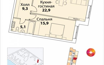 1-комнатная квартира, 52.9 м<sup>2</sup>, 35 этаж