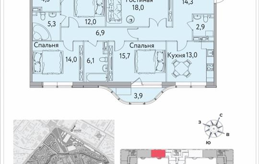 4-комнатная квартира, 119.5 м<sup>2</sup>, 2 этаж