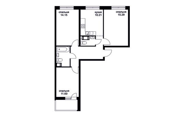 3-комнатная квартира, 69.95 м<sup>2</sup>, 2 этаж_1
