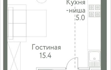 1-комнатная квартира, 25.2 м<sup>2</sup>, 8 этаж