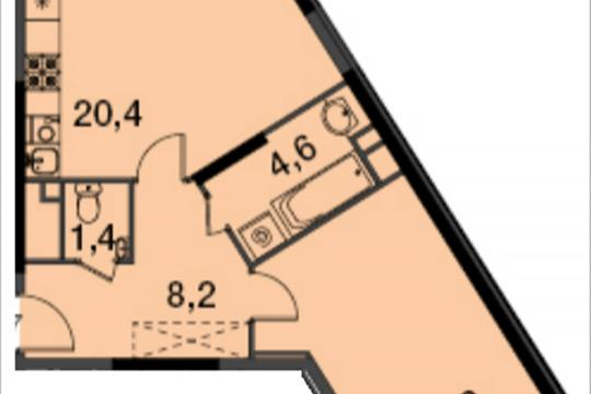 1-комнатная квартира, 50.4 м<sup>2</sup>, 9 этаж