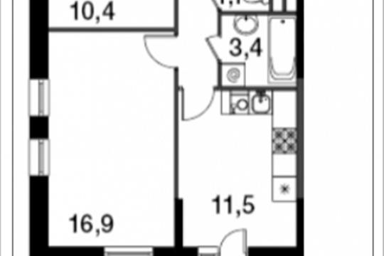 2-комнатная квартира, 53 м<sup>2</sup>, 15 этаж