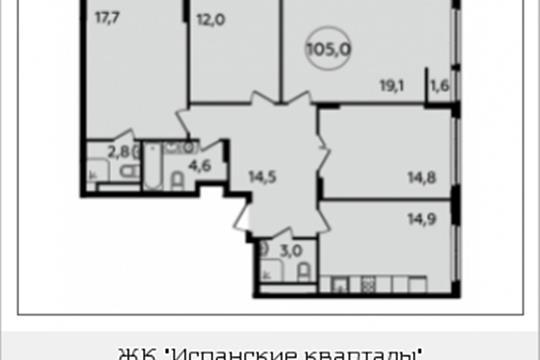 4-комнатная квартира, 105 м<sup>2</sup>, 12 этаж